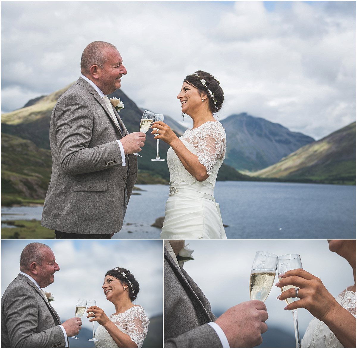 Champagne at Wast Water Wedding Photography