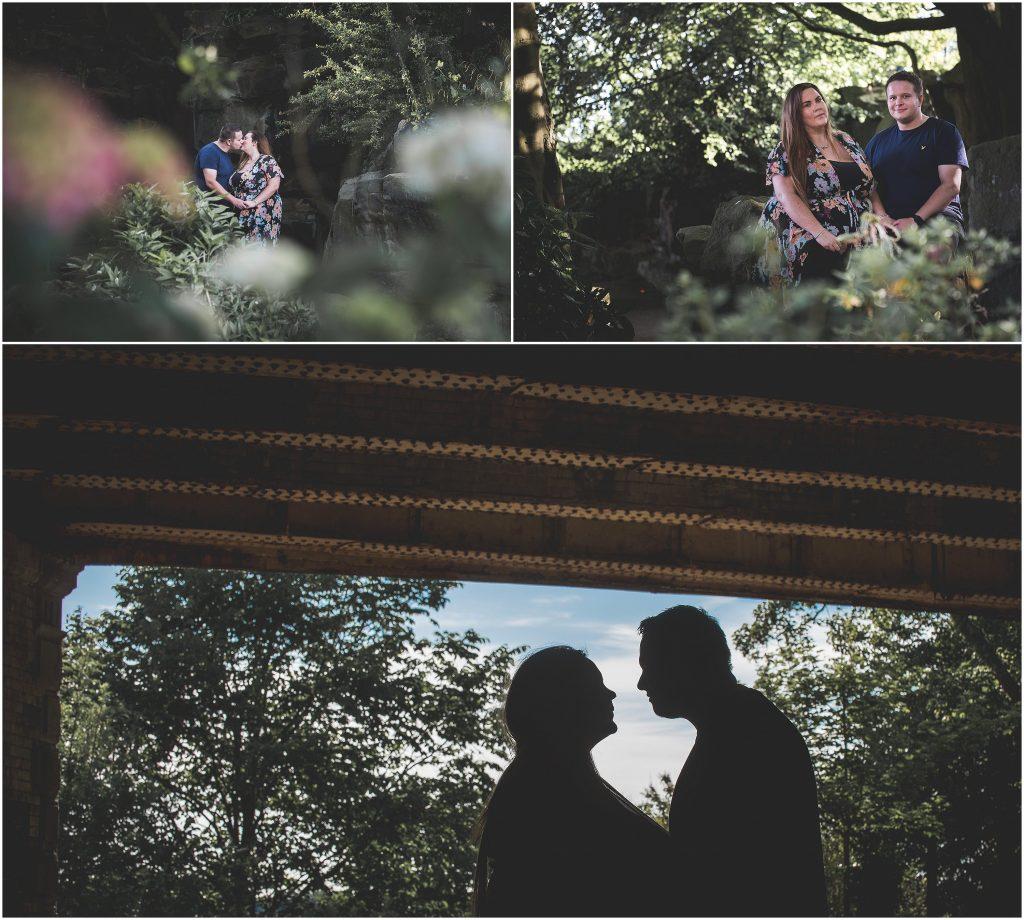 Avenham Park Pre-Wedding Shoot | Couple kiss under bridge