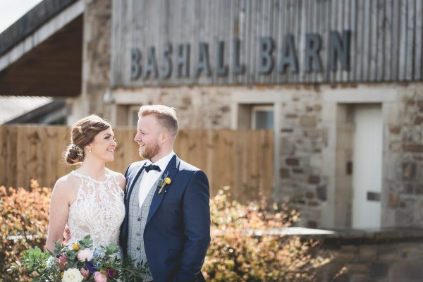 Couple in love at Bashall Barn