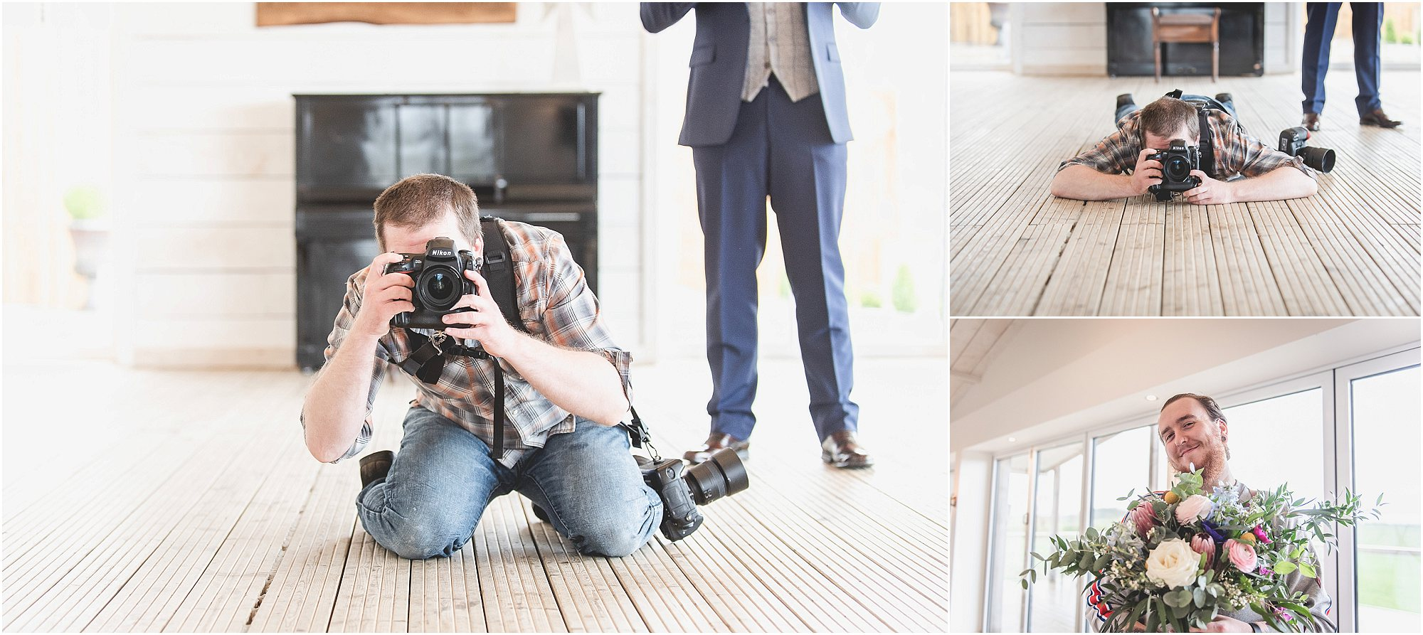 Couple of Wedding Photographers having fun at a styled shoot