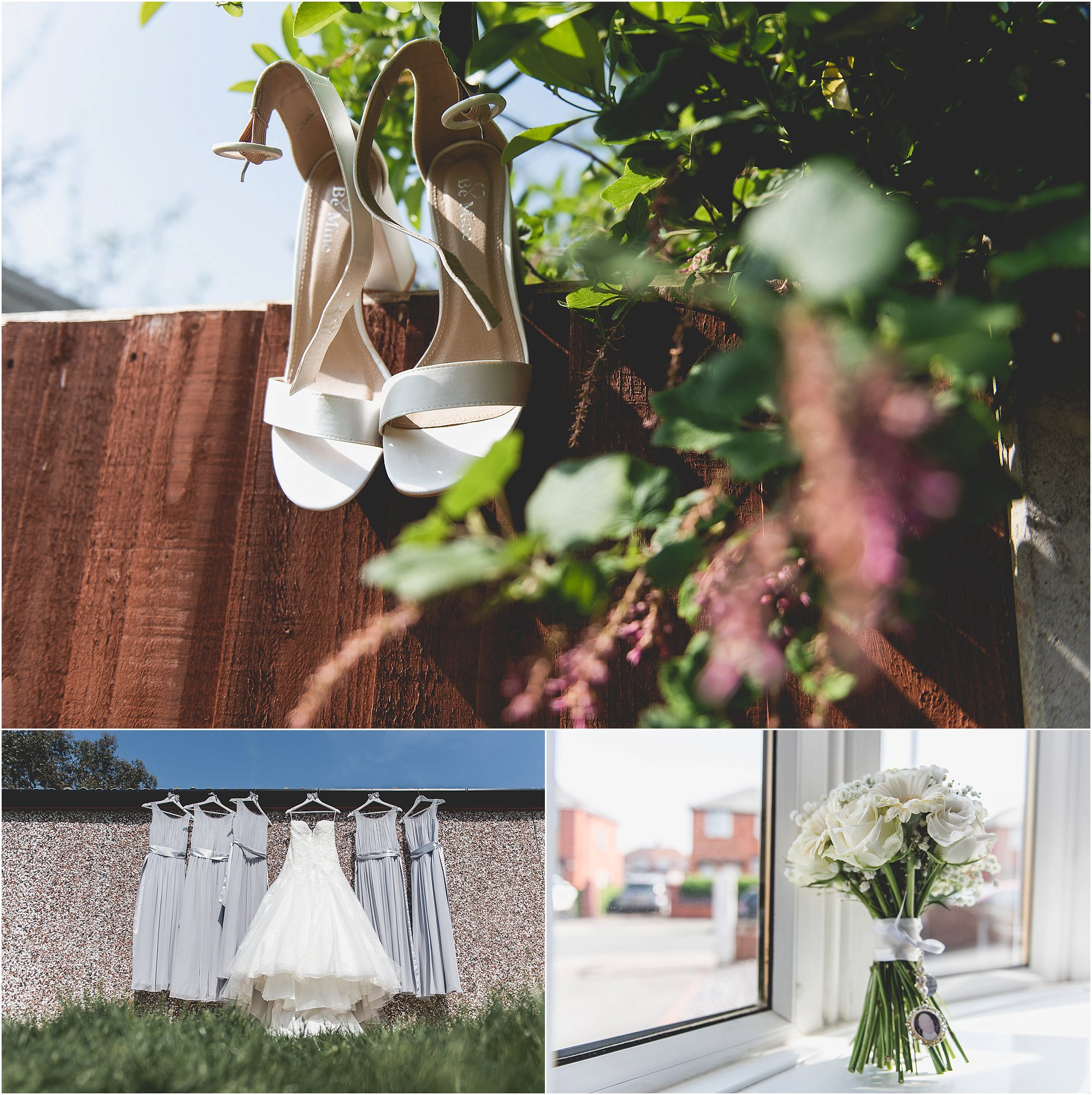 brides shoes, wedding dress and flowers