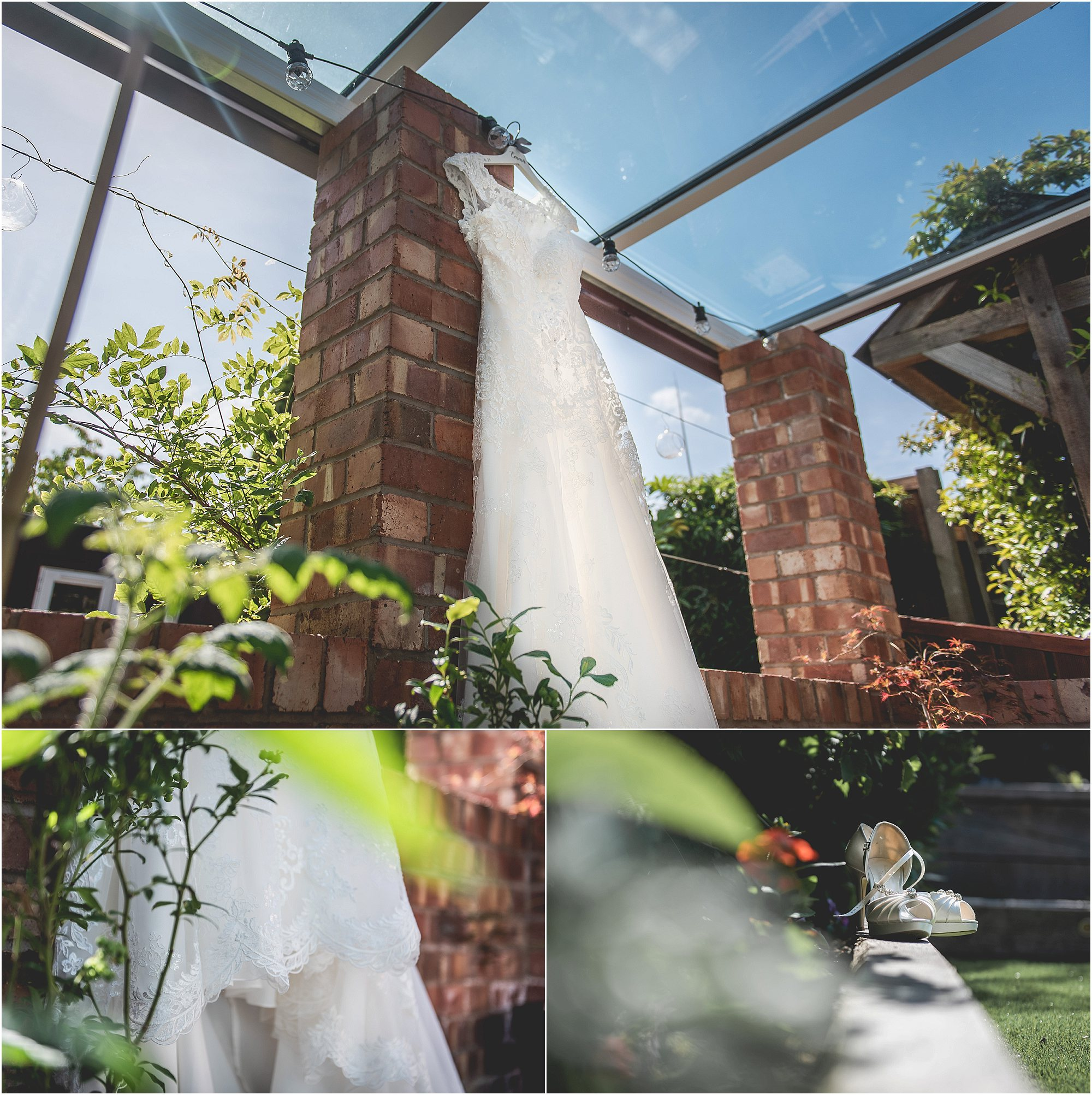 Wedding Dress Handing in garden on a sunny day