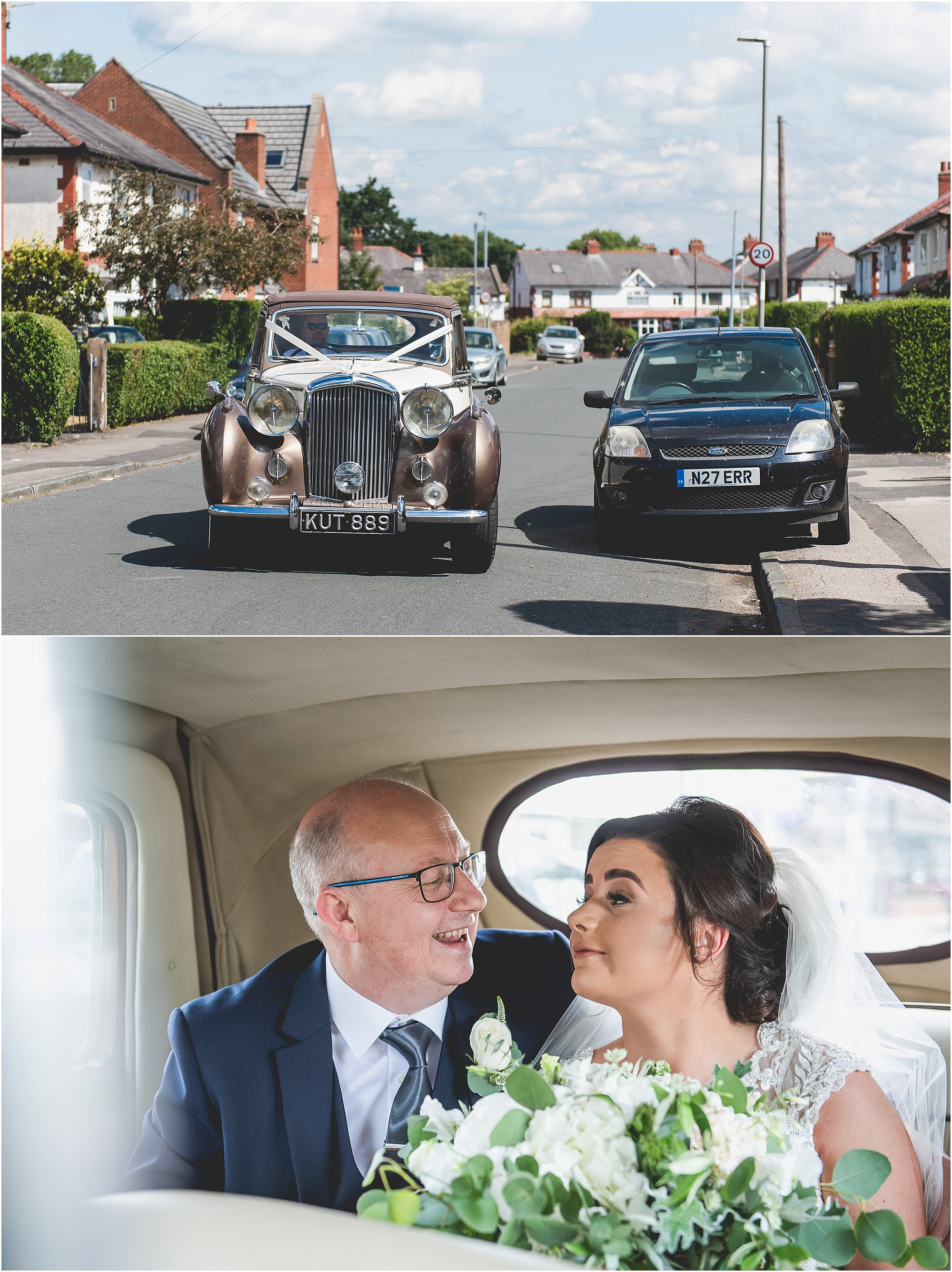 Bridal car with bride and father of the bride