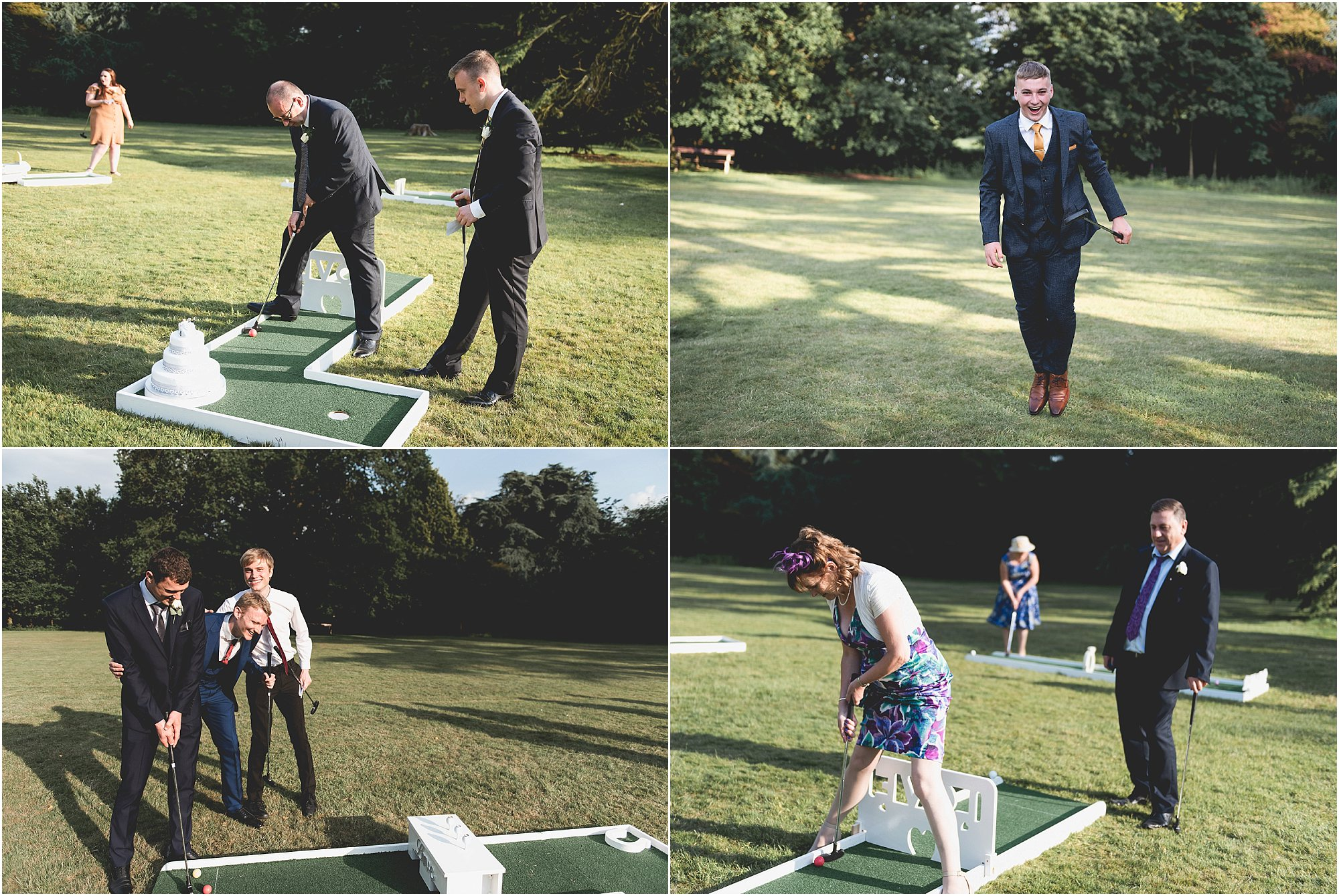 Wedding guests playing mini golf