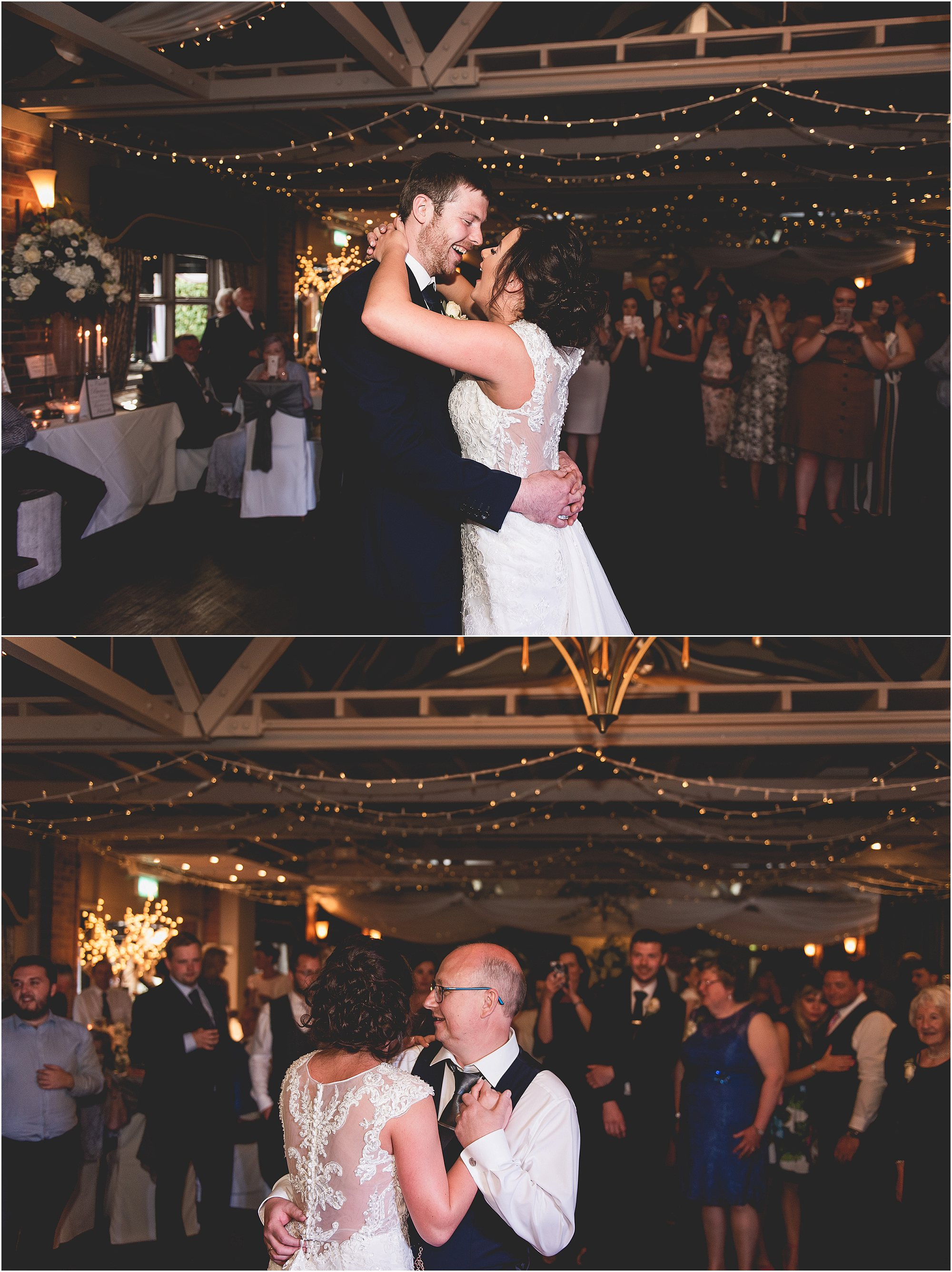 bride and groom first dance followed by bride and dad dance